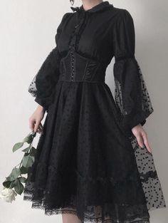 Gothic Fashion 514677063665592433 - Punk Rave Black Gothic Lolita Puff Sleeves Dress Source by melaniebaubias Punk Dress, Goth Dress, Gothic Lolita Fashion, Gothic Outfits, Emo Outfits, Mode Emo, Gothic Party, Black Gothic Dress, Dress Black