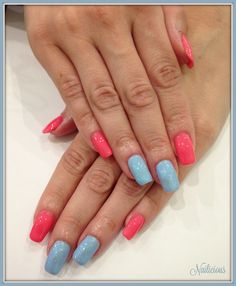 Coral & Blue  with Glitter