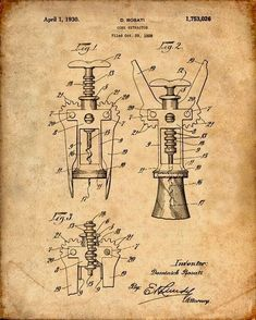 This is a print of the patent drawing for a cork screw patent in 1930. The original patent has been cleaned up and enhanced to create an attractive display piece for your home or office. This is a…MoreMore  #PatentArtPrints