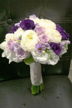 Purple and white peonies