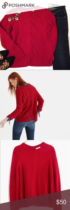 Madewell backroad red button-back sweater Made of super soft yarn, this textural sweater has buttons all the way down the back. Looks great with an oxford top underneath. Color sangria red.  Size small.  Shop my closet now! Over 100 listings just added from my spring cleaning! Madewell Sweaters Crew & Scoop Necks