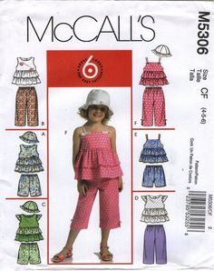 McCall's 5306 Toddlers'/Children's Tops, Shorts, Capri Pants and Hat