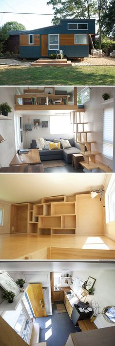 The Alpha: a beautiful, modern home that spans just 170 sq ft. Wonderful, decorative storage in loft. Tiny House Plans, Tiny House On Wheels, Tiny House Design, Modern House Design, Tiny House Living, Small Living, Beautiful Modern Homes, Tiny House Exterior, Compact House