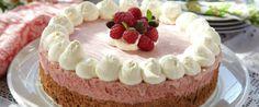 dessert, kake, bringebær, nøttebunn | FRUKT.no