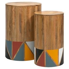Showcase a vase of lush blooms or display your favorite family photos with this mango wood table set, showcasing round silhouettes and an eye-catching geomet...