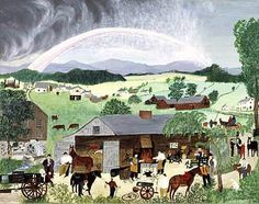 Grandma Moses - The Rainbow 1951 Oil on pressed wood 19 x 23 x cm) Private collection Henri Rousseau, Central Elementary School, Bennington Vermont, Grandma Moses, Old Farm, Naive Art, Outsider Art, American Artists, Artist At Work
