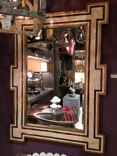 Mirrors brighten any space, and the great shape of this bone inlaid mirror makes it a statement maker!  Mr. Brown (InterHall IH102) www.mrbrownhome.com #hpmkt #stylespotters
