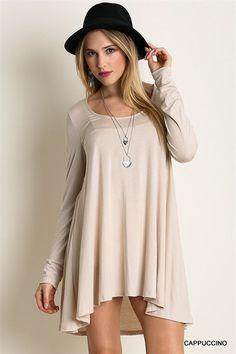 Unannounced Hi-Low Long Sleeve Dress (Beige) - NanaMacsBoutique  - 1