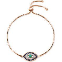 Giani Bernini Cubic Zirconia Evil Eye Adjustable Bracelet in Sterling Silver or 18k Yellow or Rose Gold-Plated Sterling featuring polyvore, women's fashion, jewelry, bracelets, rose gold, 18 karat gold bangles, evil eye bangle, evil eye jewelry, yellow bangles and cz jewellery