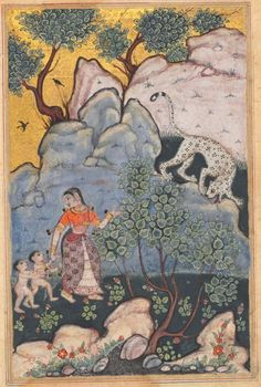 Tuti-nama (tales of a parrot) : Tales XXX :  a woman with two children abandoned her home goes into the forest where she encounters a leopard