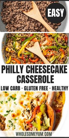 Low Carb Keto Philly Cheesesteak Casserole Recipe - An easy keto philly cheesesteak casserole recipe that takes just 30 minutes! Creamy, cheesy low carb philly cheesesteak casserole uses simple ingredients with minimal prep. #wholesomeyum #keto #ketorecipes #beef #peppers #cheese #ketocasseroles #casseroles Best Low Carb Recipes, Low Carb Dinner Recipes, Keto Recipes, Keto Dinner, Clean Recipes, Snack Recipes, Philly Cheese Steak Casserole Recipe, Cheap Casserole Recipes, Keto Casserole