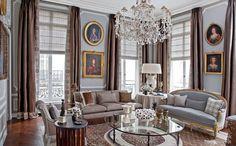 déco salon gris et blanc de style baroque