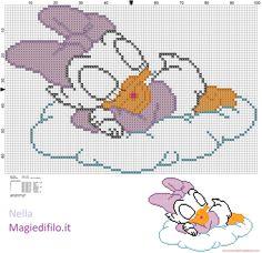 Baby Daisy Duck  sleeping on cloud