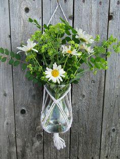 Macrame vase holder  #macrame #planthanger Fresh Flowers, Dried Flowers, Cotton String, Gift For Lover, Flower Vases, Plant Hanger, Greenery, Macrame, Glass Vase