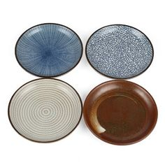 "Amazon.com | Lagute Porcelain Dinnerware Plate Set of 4 pack Japanese Zen Style Dipping Sauce Dishes, for Appetizer, Dessert, Salad, Snack, Sushi, Fruit, Bread (Ice Cracks, Medium 3.8"") (Ice Cracks) (3.8""): Plates"