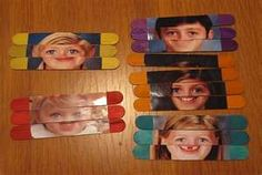 Clever twist on popsicle stick photo puzzles. Use Photoshop to make all the photos the same size, so when kids play with the puzzles, they can switch around their eyes and other facial features with each other's. Popsicle Stick Crafts, Popsicle Sticks, Craft Stick Crafts, Fun Crafts, Craft Sticks, Name Activities, Activities For Kids, Diy Sensory Toys, All About Me Preschool