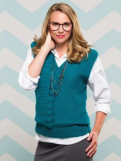 Cabled Sweater Vest  Size: Includes Woman's S through 2XL. Made with light (DK) weight yarn and size G/6/4mm hook.