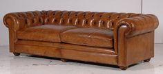 Italian Leather Tan 3 Seater Chesterfield Sofa