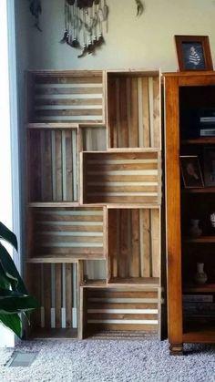 50 Amazing DIY Bookshelf Design Ideas for Your Home - Bücherregal Dekor Decor, Diy Bookshelf Design, Room Design, Diy Furniture, Bookshelves Diy, Crate Bookshelf, Home Decor, Home Deco, Pallet Furniture