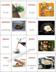Cooking Verbs in German. Food Preparation Verbs. - learn German,vocabulary,cooking,german