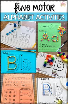 Fine motor alphabet activities are a fun learning center for preschool and kindergarten kids. These no prep alphabet printables are ready to use with your children today! Preschool Learning Activities, Fun Learning, Preschool Lessons, Kindergarten Letter Activities, At Home Toddler Activities, Preschool Literacy Activities, Handwriting Activities, Preschool Centers, Kindergarten Learning