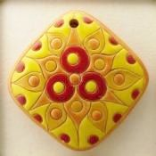 Stylized Flower In Red And Yellow And Orange, Handcrafted Focal Bead, Golem…
