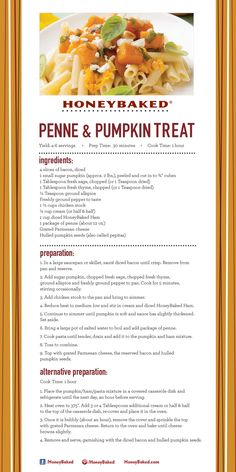 HoneyBaked Penne & Pumpkin Treat  #HoneyBaked #Ham #Pasta #Recipe www.HoneyBaked.com