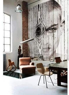 Black and white office loft , table, chair, wall, wood, wall panel