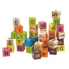 Woody Cubes mit Buchstaben und Zahlen | Spielzeug & Sport