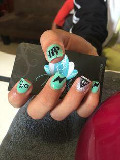 Acrylic nails, nails art, harry potter nails