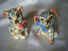 Vintage Ceramic Arts Studio Plaid Dog Pokadot Cat Salt & Pepper Shakers