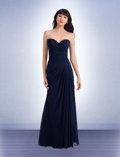 Bill Levkoff #1146 - Chiffon strapless gown with a sweetheart neckline. Criss-cross pleating shapes the dropped waist. Asymmetrical pleats and draping adorn the skirt.