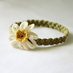 Crochet PATTERN (pdf file) - Daisy Braided Headband (sizes - baby to adult)