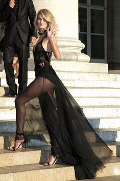 Rosie Huntington-Whiteley Walked the Steps, Showing Off Her Sheer Train at the Versace show in Paris.