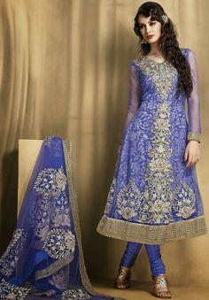 USD 95.24 Blue Embroidered Net Anarkali Salwar Kameez 27742