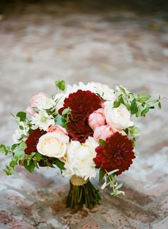 Burgundy and Blush Bridal Bouquet