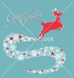 Christmas card with deer vector - by ngocdai86 on VectorStock®