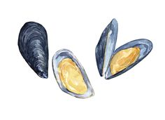 Mussels Seafood watercolor print