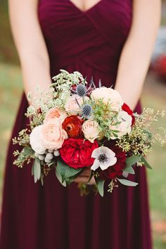 Burgundy and blue bouquet | Photo by Crystal Stokes