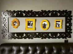 Minha cabeceira Retrô-romantica totalmente personalizada com fotos marcantes!! #cabeceira #diy #quadrosdecorativos #decoração #interiores #design #decoracaoretro #pretoeamarelo