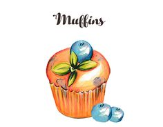 """Check out new work on my @Behance portfolio: """"Muffins Watercolor"""" http://be.net/gallery/35031131/Muffins-Watercolor"""