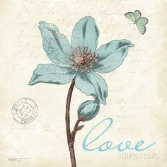 Touch of Blue IV (Love) Impressão artística