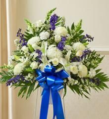$130 Blue and White Sympathy Standing Basket