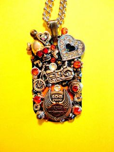 Motorcycle Dog Tag Pendant Number 998 by BradosBling on Etsy, $34.99