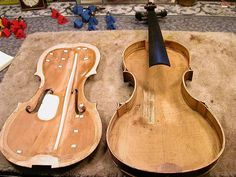 Restored violin with cleats and sound post patch Violin Art, Cello, Violin Repair, Double Bass, Orchestra, Construction, Musical Instruments, Cleats, Musicals