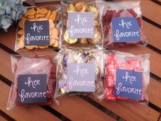 WEDDING TREAT STICKERS - HIS FAVORITE, HER FAVORITE This listing is for treat bag stickers, perfect for your wedding, event or soiree! Snacks will