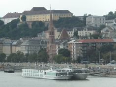 Danube River cruise ships docked in Budapest.
