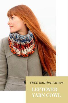 FREE Leftover Yarn Cowl knitting pattern #scrapbusting