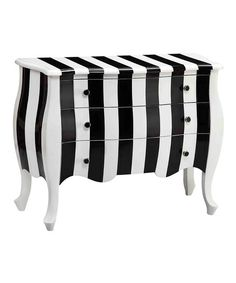 Black & White Stripe Three-Drawer Bombe Chest