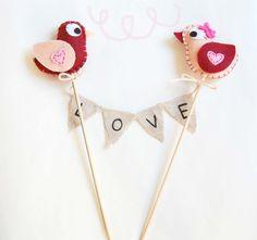 Wedding cake topper birds,love,felt, love, valentines day,wedding,just married, anniversary, birthday, heart, pink, red, handmade in italy
